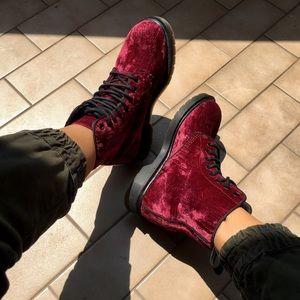 Dr Martens Boot with burgundy crushed velvet upper